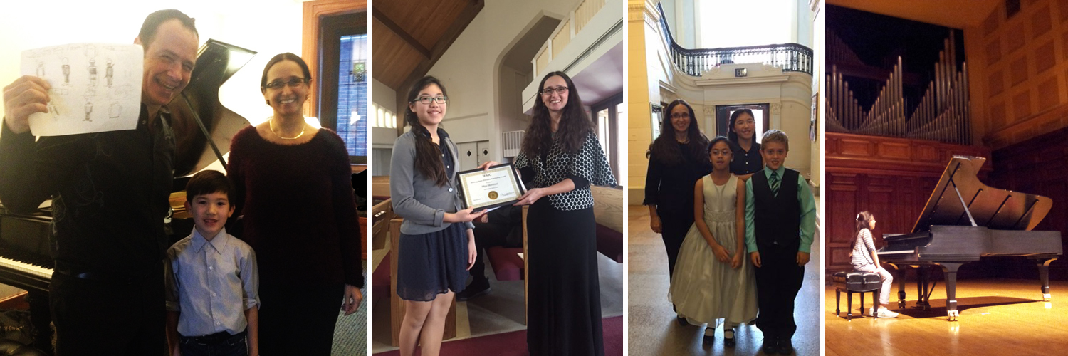 A montage of The Art of Piano students of various ages performing in and posing after masterclasses and competitions